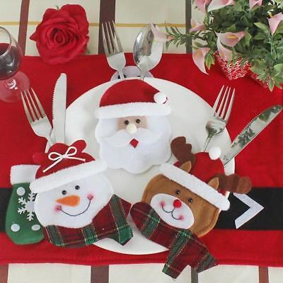 Xmas Santa Claus Kitchen Table Decor Tableware Holder Pocket Cutlery Bag Hot