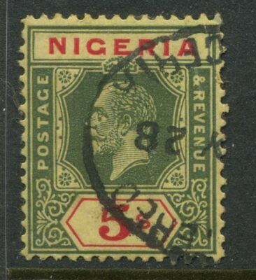 Nigeria KGV 1926 5/ green & red CDS used fresh bright colors never soaked