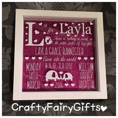 Personalised BIRTH NEW BABY Gift Boy Girl Present Frame Child Name FAIRY LIGHTS