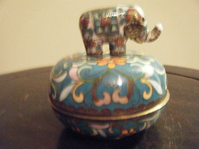Cloisonne Music Box With Elephant Lid  See  Information On The Bottom Of Box
