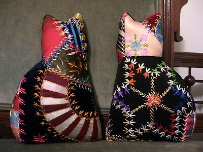 KITTIES from 1888-90s CRAZY QUILT~HISTORICAL~STUNNING EMBROIDERY~GORGEOUS STAR~