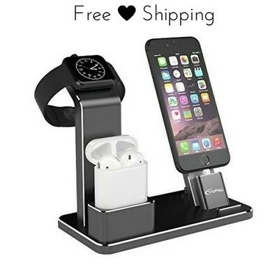 Universal iWatch Charger Stand Docking Station Black Aluminum Holder 4 In 1 Dock