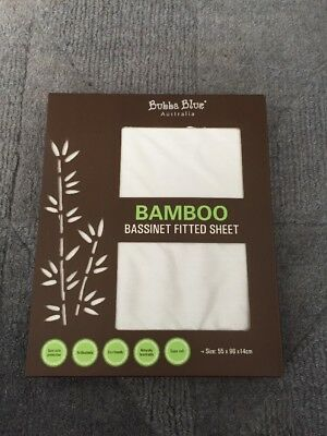 Bubba Blue Bamboo Bassinet/ Cradle Fitted Sheet 55 x 96 x 14