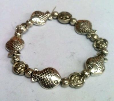 China Noble carving lucky pattern Tibetan silver bracelet -- Fish