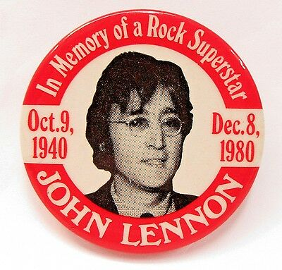 "1980 IN MEMORY of Rock Superstar JOHN LENNON 2.25"" pinback button BEATLES"