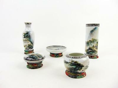 Very Rare, 5 Chinese Porcelain Scholar Pieces /Box, Wang Yating, Early 20th C