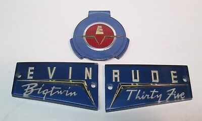 Vintage 1950's Evinrude Bigtwin Thirty Five Nos Plastic Badges for Motor NOS New
