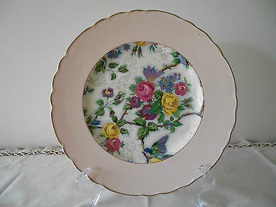 Aj Wilkinson Royal Staffordshire Pottery Chintz Design Plate With Wide Pink Rim