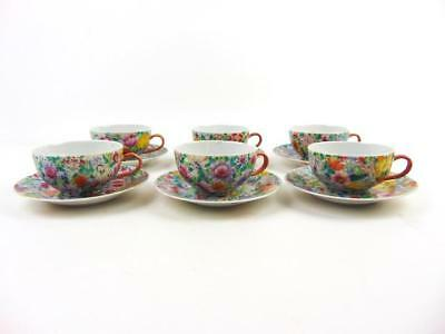Antique Chinese Six Sets of Famille Rose Mille-fleurs Tea Cup & Saucer, Republic