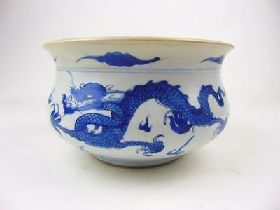 Antique Chinese Kangxi Period 21cm Blue and White Porcelain Censer w/ Dragons
