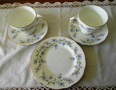 2 X Vintage Duchess England Tranquility Duos & One Side Plate Forget Me Not
