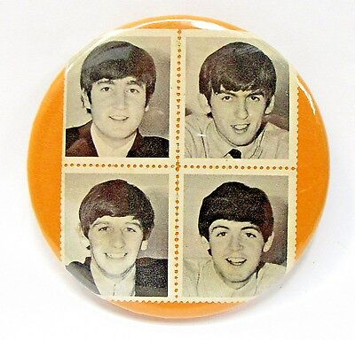 "THE BEATLES encased photo stamps 3"" pinback button"