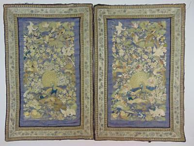 A Pair of Antique Chinese Canton Peacock & Flowers Embroideries, 19th C