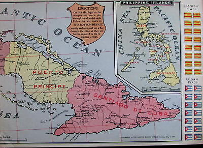 Cuba Philippines Spanish American War interactive flag map 1898 Boston Herald