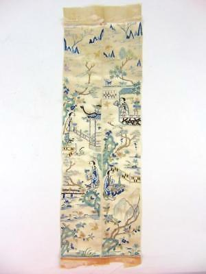 Antique Chinese Embroidered Sleeve Bands W/ Figures, Pair, 19th C
