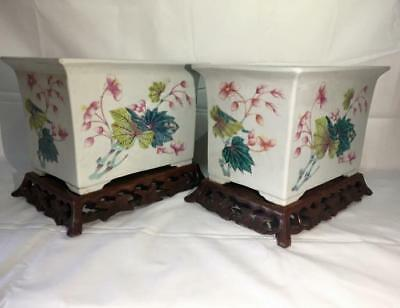 A Pair Of Fine Antique Chinese Famille Rose Jardiniere w/ Stand, Republic Period