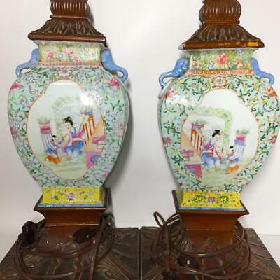 Large Pair Antique Chinese Famille Rose Figural Vase Lamps, 19th Century