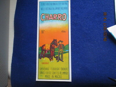 Vintage Firecracker Label Charro infrequently offered, beautiful label