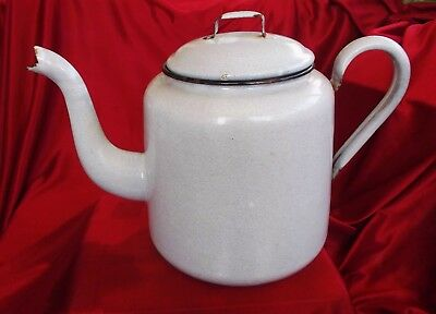 Vintage Large 12 Cup Light Grey Speckled Enamel Teapot In very good condition.