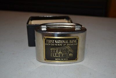First National Bank, Berlin Wis. Metal Bank with box
