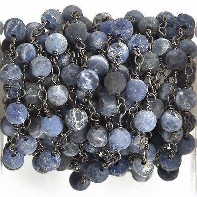 3ft Matte SODALITE GEMSTONE Rosary Chain, gunmetal denim blue 6mm fch0753a