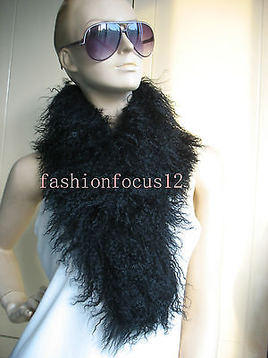 winer  Real whole Lamb Fur Scarf  with clip/Collar /handmade/black  white  2scar