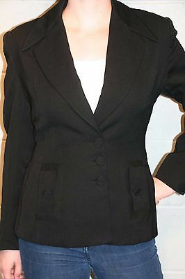 M~L Black Wool Gabardine Vtg 40s Junior Deb Fitted Blazer Jacket Suit Coat