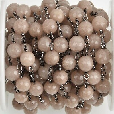 3ft MUSHROOM JADE GEMSTONE Rosary Chain, gunmetal, 8mm round faceted, fch0755a