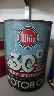 "1940's Whiz 30 Below Zero 1 qt Motor Oil Can ""Old Car Snow Scene"" ***NICE ONE***"