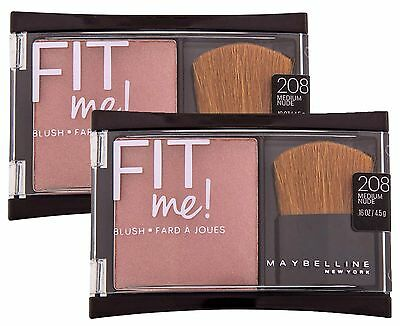 2 x MAYBELLINE FIT ME PRESSED POWDER BLUSH MEDIUM NUDE -FULLSIZE-NEW