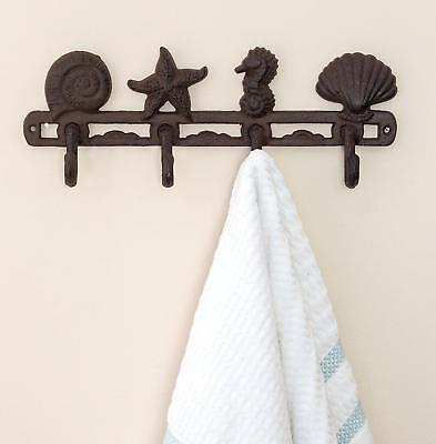 Vintage Seashell Coat Hook Hanger by Comfify | Rustic Cast Iron Wall w/ 4...