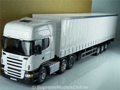 Scania Curtainside Lorry & Trailer Plain White 1/50 Size Model Example T3412Z(=)