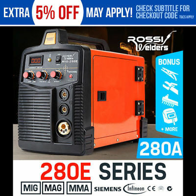 NEW ROSSI Welder Inverter 280 Amp Welding Machine Gas Gasless MIG ARC Portable