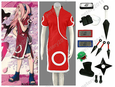 Naruto Sakura Haruno 1st Red Children Adult Cosplay Costume Set
