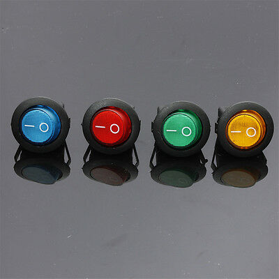 4X LED Light 12V 16A ON/OFF Toggle Spst Round Button Boat Car Auto Rocker Switch