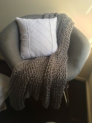 Grey Linen Armchair Feature Reading Decorative Chair