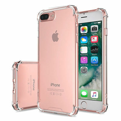 For iPhone 6S 7 8 Plus X Case Clear Hybrid Slim Shockproof Soft TPU Bumper Cover