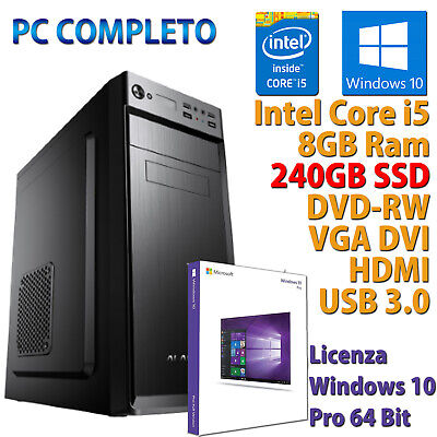 PC COMPUTER DESKTOP FISSO WINDOWS 10 INTEL QUAD CORE i5-7400 RAM 8GB SSD 240GB