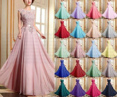Formal Applique Chiffon prom Ball Gown Evening Party  Bridesmaid Dress Size 6-20