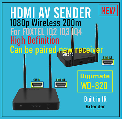 New* 5.8GHz HDMI AV Sender TV Foxtel IQ2 IQ3 IQ4K Wireless Transmitter Receiver*