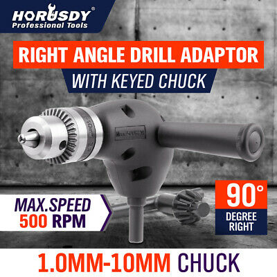Right Angle Drill Attachment Chuck Adapter Electric Power Cordless 3/8 90 Degre