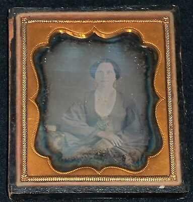 Vintage 1800's 1/6th Plate Daguerreotype/Seated Woman/Mid-Century Outfit/Case