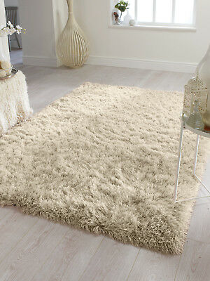 Dazzle Sparkle Natural Champagne Cream Silky Thick Long Pile Glamour Shaggy Rug