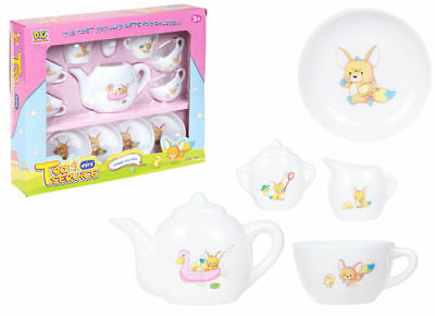 Kids Childs 12 Piece White Tea Party Play Set Gift Toy New Boxed Stocking Filler