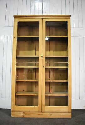 Antique Victorian pine tall glazed bookcase - display cabinet - curio cupboard