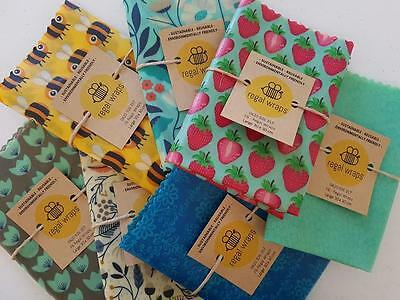 5 x Small Reusable Beeswax Food  Wrap - environmentally friendly