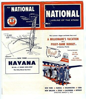 National Airlines Time Table March 1955 Airline of the Stars Havana DC-6 B