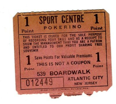Sport Centre POKERINO Coupon 539 Boardwalk Atlantic City 1950's
