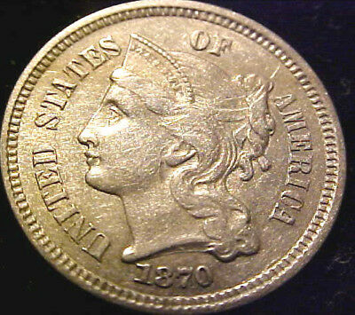 1870 Three Cent 3c Piece ~XF/ AU Details~ FREE SHIPPING! 02SP