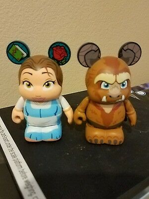 """Disney Vinylmation 3"""" Beauty And The Beast Series 1 Belle & Beast Lot of 2"""